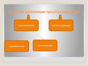 Два этапа организации процесса адаптации: подготовительный прогностический оз
