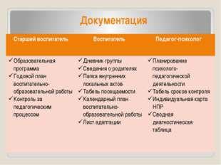 Документация Документация Старшийвоспитатель Воспитатель Педагог-психолог Обр