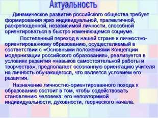 Динамическое развитие российского общества требует формирования ярко индивиду