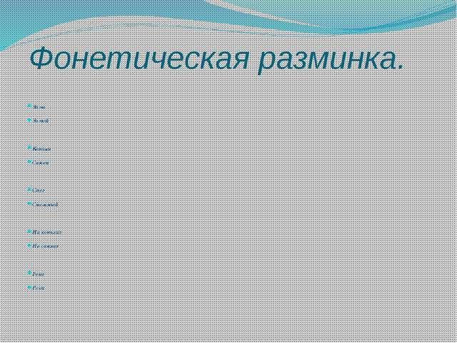 Фонетическая разминка. Зима Зимой Коньки Санки Снег Снежный На коньках На сан...