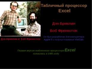 Службы Интернета Первый табличный процессор создали в 1979 году студент Гарва