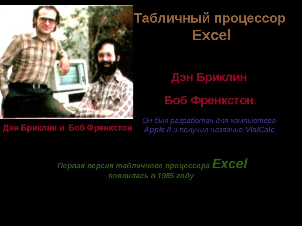 Службы Интернета Первый табличный процессор создали в 1979 году студент Гарва...