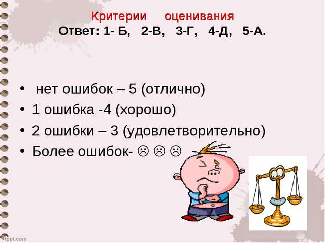 Критерии оценивания Ответ: 1- Б, 2-В, 3-Г, 4-Д, 5-А. нет ошибок – 5 (отлично)...
