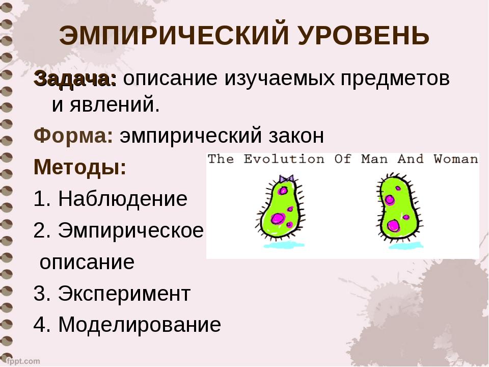 ЭМПИРИЧЕСКИЙ УРОВЕНЬ Задача: описание изучаемых предметов и явлений. Форма: э...