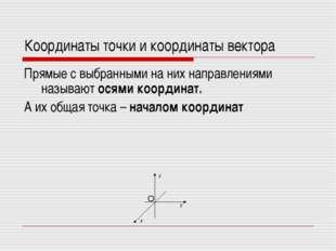 Координаты точки и координаты вектора Прямые с выбранными на них направлениям