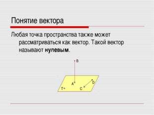 Понятие вектора Любая точка пространства также может рассматриваться как вект