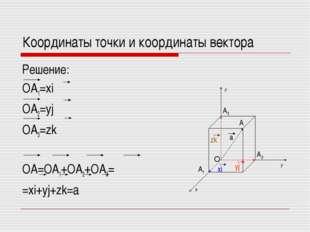 Координаты точки и координаты вектора Решение: OA1=xi OA2=yj OA3=zk OA=OA1+OA