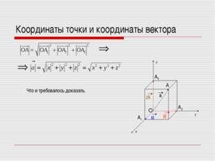 Координаты точки и координаты вектора x y z O A1 A2 A3 A Что и требовалось до