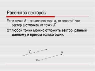 Равенство векторов Если точка А – начало вектора а, то говорят, что вектор а
