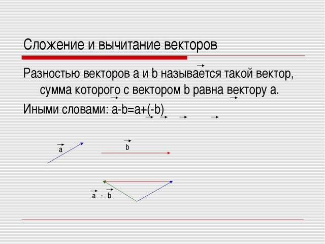Сложение и вычитание векторов Разностью векторов a и b называется такой векто...