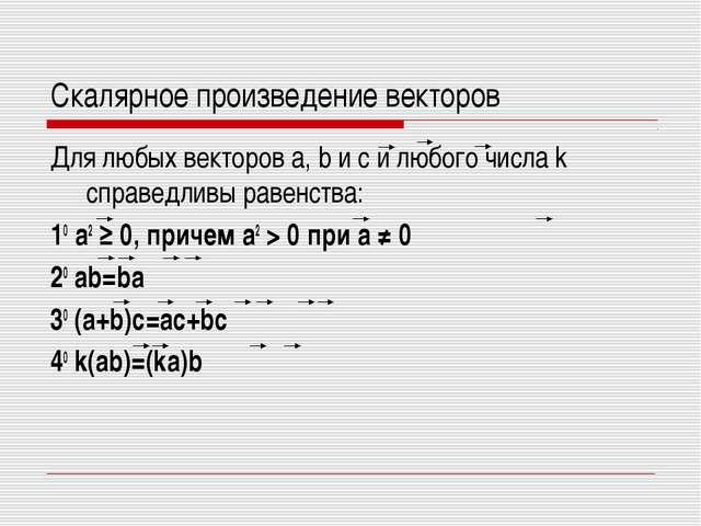 Скалярное произведение векторов Для любых векторов a, b и с и любого числа k...