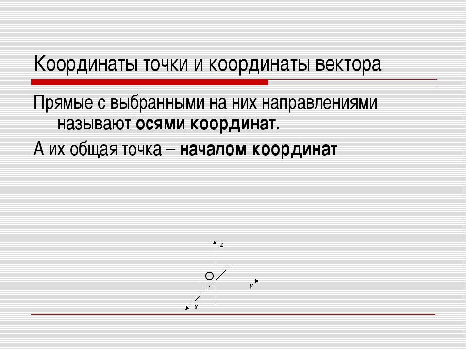 Координаты точки и координаты вектора Прямые с выбранными на них направлениям...
