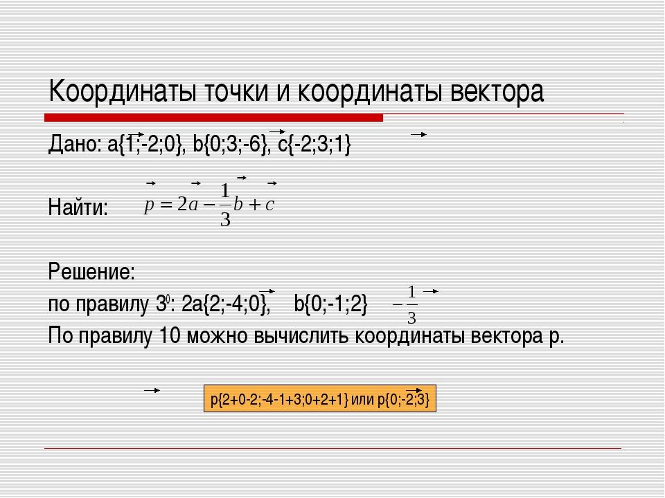 Координаты точки и координаты вектора Дано: a{1;-2;0}, b{0;3;-6}, c{-2;3;1} Н...
