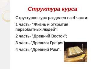 """Структура курса Структурно курс разделен на 4 части: 1 часть- """"Жизнь и откры"""