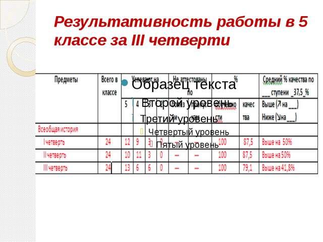 Результативность работы в 5 классе за III четверти