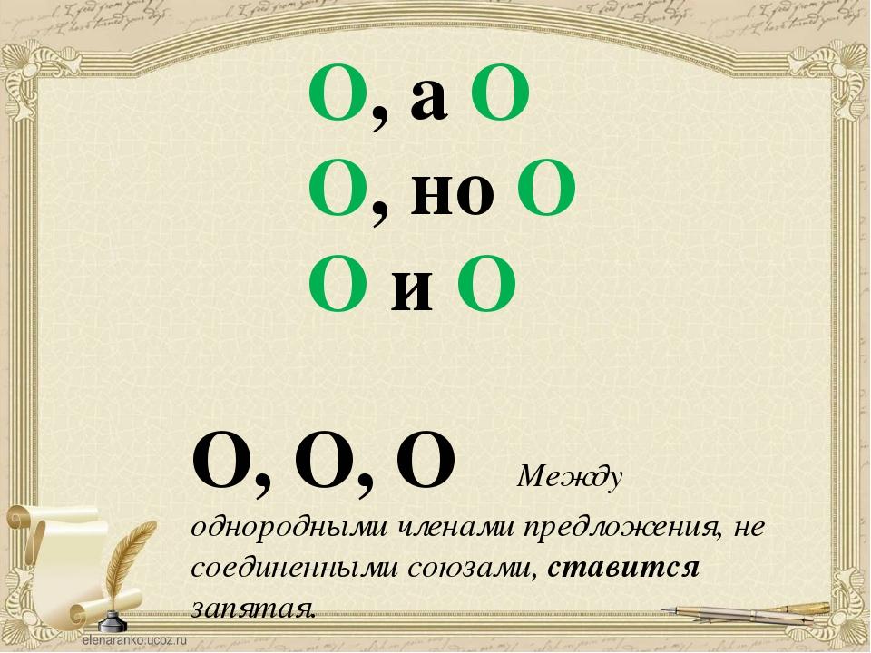 O, а O O, но O O и O О, О, О Между однородными членами предложения, не соедин...