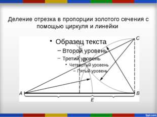 Деление отрезка в пропорции золотого сечения с помощью циркуля и линейки
