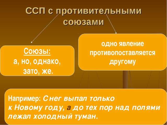 ССП с противительными союзами Союзы: а, но, однако, зато, же. одно явление пр...