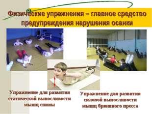 Физические упражнения – главное средство предупреждения нарушения осанки Упра
