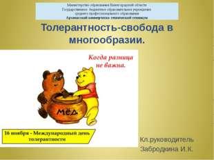 Толерантность-свобода в многообразии. Кл.руководитель Забродкина И.К. Министе