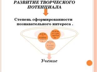 РАЗВИТИЕ ТВОРЧЕСКОГО ПОТЕНЦИАЛА Степень сформированности познавательного инте