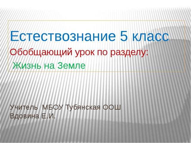 Учитель МБОУ Тубянская ООШ Вдовина Е.И. Естествознание 5 класс Обобщающий уро...