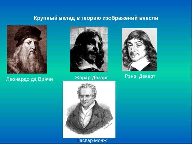 Крупный вклад в теорию изображений внесли Леонардо да Винчи ЖерарДезарг Рэнэ...