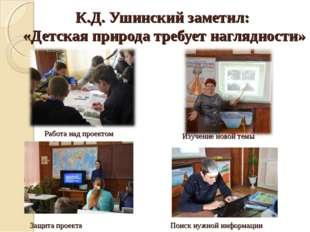 К.Д. Ушинский заметил: «Детская природа требует наглядности» Работа над проек