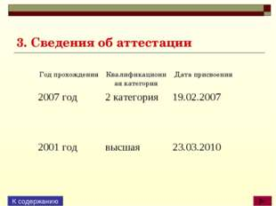 3. Сведения об аттестации К содержанию Год прохожденияКвалификационная катег