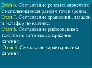 Этап 6. Составление речевых зарисовок с использованием разных точек зрения. Э