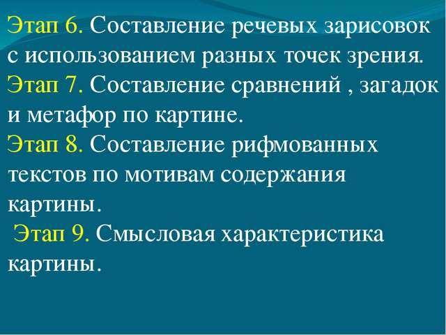 Этап 6. Составление речевых зарисовок с использованием разных точек зрения. Э...