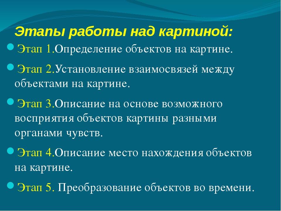 Этапы работы над картиной: Этап 1.Определение объектов на картине. Этап 2.Уст...