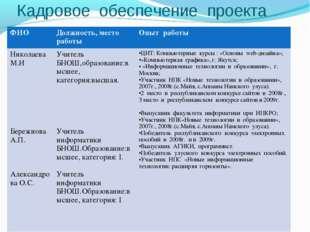 Кадровое обеспечение проекта * . Бережнова А.П. – учитель информатики БНОШ: *