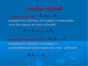 Алгебра событий  Суммой событий называется событие, состоящее в появлении хо