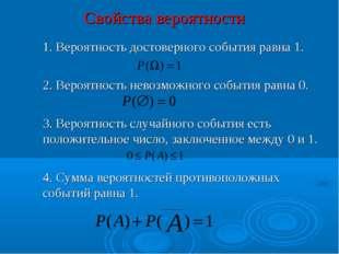 Свойства вероятности 1. Вероятность достоверного события равна 1. 2. Вероят