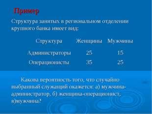 Пример Структура занятых в региональном отделении крупного банка имеет вид: