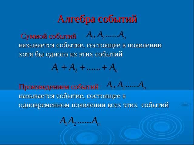 Алгебра событий  Суммой событий называется событие, состоящее в появлении хо...