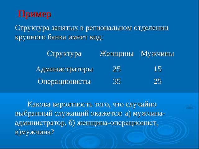 Пример Структура занятых в региональном отделении крупного банка имеет вид:...
