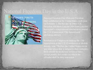 National Freedom Day in the U.S.A National Freedom Day (National Freedom Day)