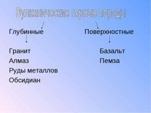 ГлубинныеПоверхностные ГранитБазальт АлмазПемза Руды металлов Об
