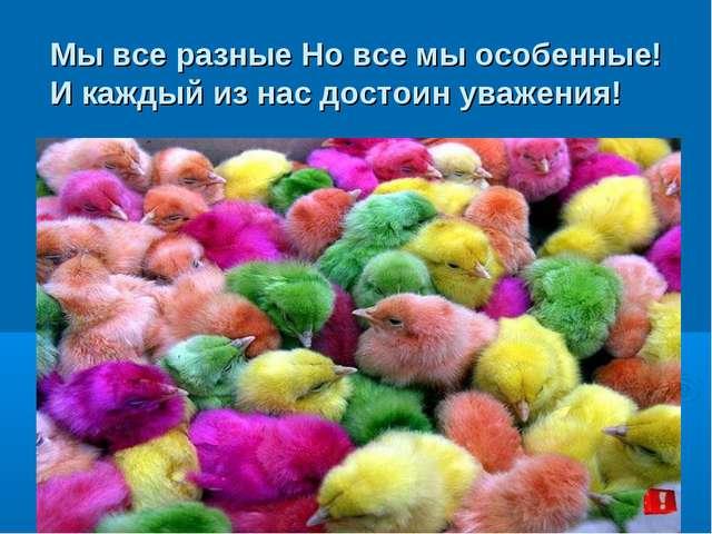 Мы все разные Но все мы особенные! И каждый из нас достоин уважения!