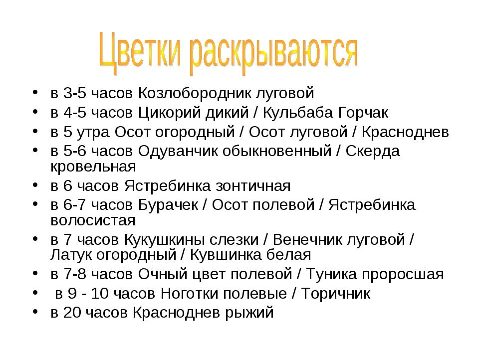 в 3-5 часов Козлобородник луговой в 4-5 часов Цикорий дикий / Кульбаба Горча...
