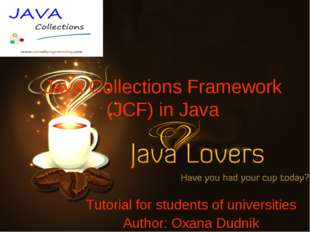Java Collections Framework (JCF) in Java Tutorial for students of universitie