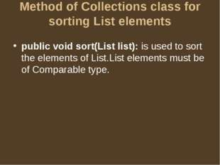 Method of Collections class for sorting List elements public void sort(List l