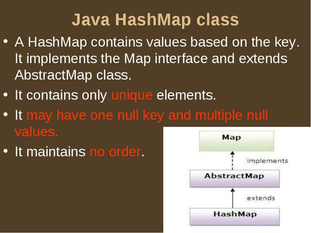 Java HashMap class A HashMap contains values based on the key. It implements...