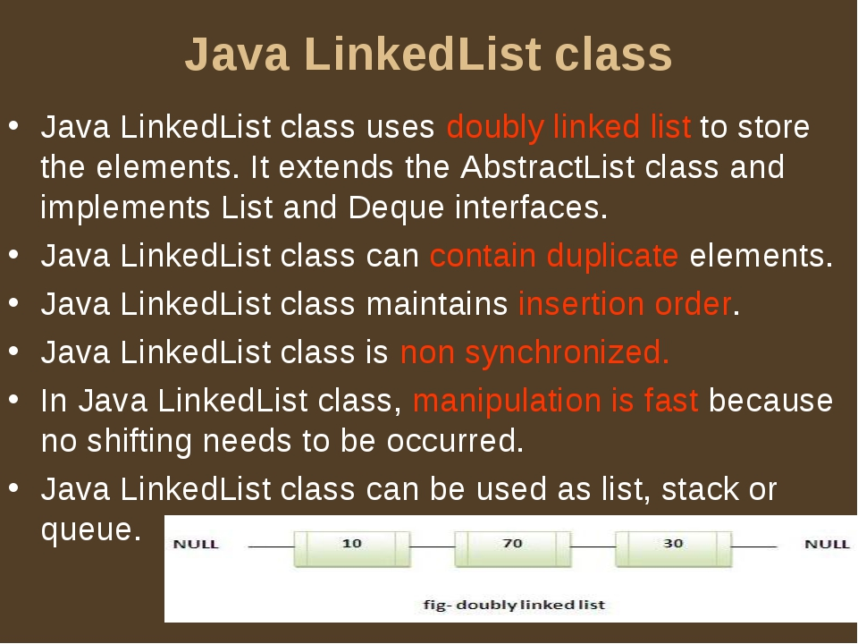 Java LinkedList class Java LinkedList class uses doubly linked list to store...