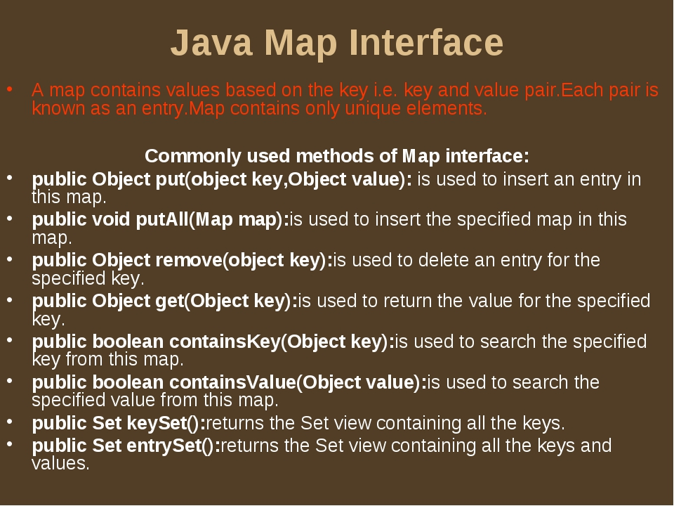 Java Map Interface A map contains values based on the key i.e. key and value...
