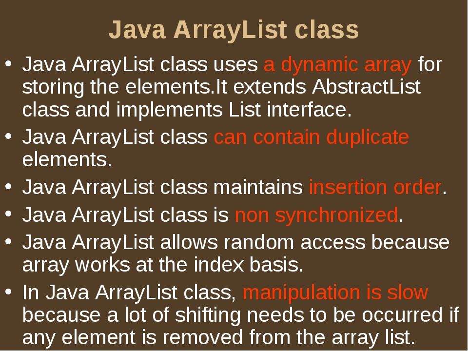 Java ArrayList class Java ArrayList class uses a dynamic array for storing th...