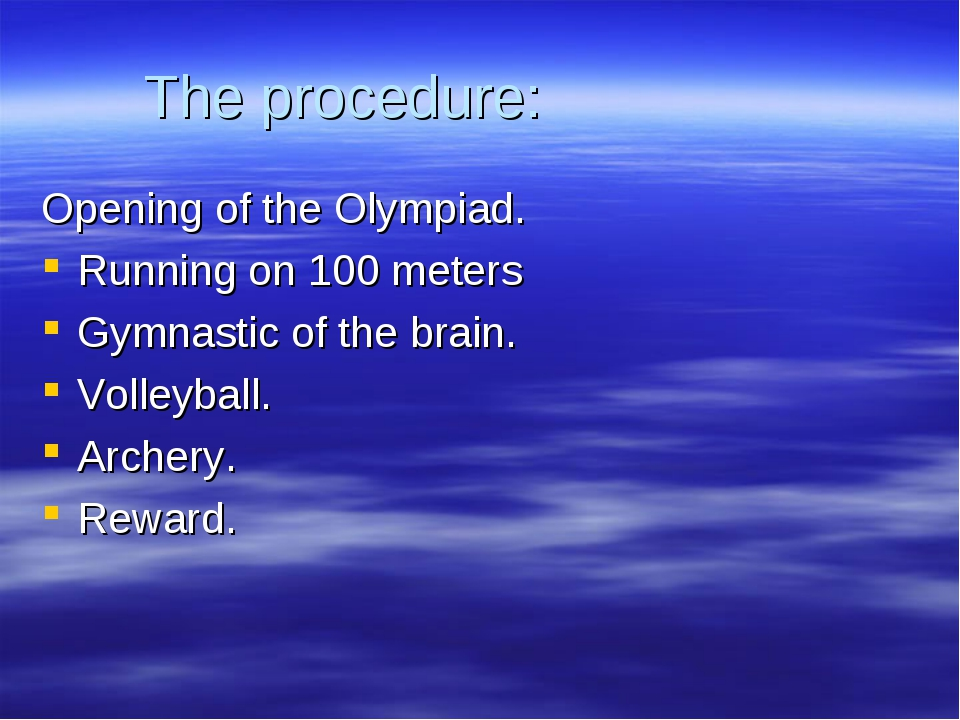 The procedure: Opening of the Olympiad. Running on 100 meters Gymnastic of th...
