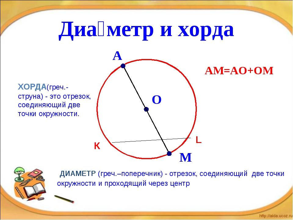 Диа́метр и хорда ДИАМЕТР (греч.–поперечник) - отрезок, соединяющий две точки...